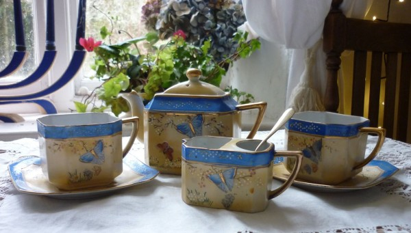 Handpainted Butterfly tea for 2